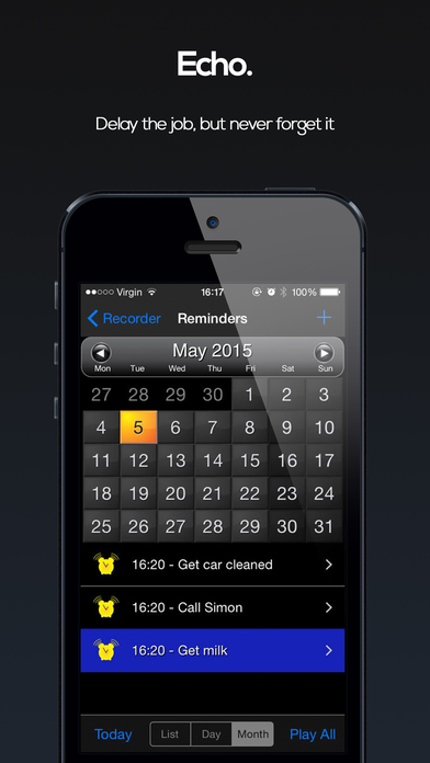 Voice Reminders! ( VoCal Lite - The Voice Calendar Reminder App with Local Notifications ) iPhone Screenshot 3