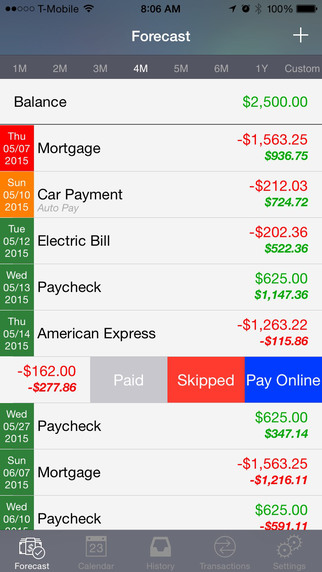 Cash Flow Cast - Personal finance expense tracker helping you manage your bills. Screenshots