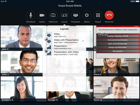 Avaya Scopia Mobile screenshot