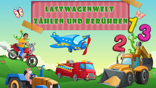 German learning counting playtime- Trucks World for toddlers and preschool kids
