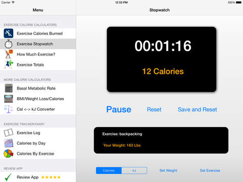 Calorie Calculator Plus - Calculate BMR, BMI and Calories Burned With Exercise screenshot