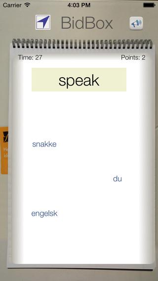 BidBox Vocabulary Trainer: English - Norwegian iPhone Screenshot 2