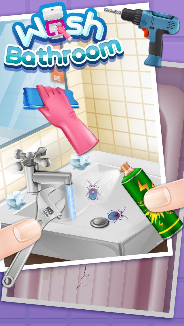 Play princess wash bathroom fashion makeup game online for Play 1 bathroom