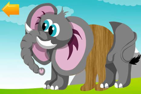 儿童拼图与动物