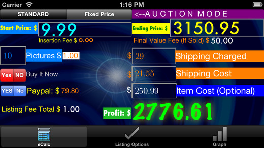 Auction Calc for Ebay Paypal Profit Projections