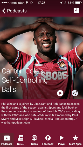 Stop! Hammer Time - The West Ham Podcast App iPhone Screenshot 1