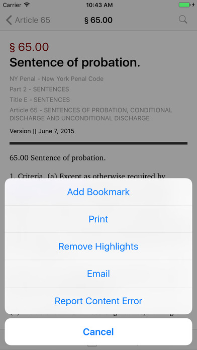 New York Penal Code (NY Law) iPhone Screenshot 3