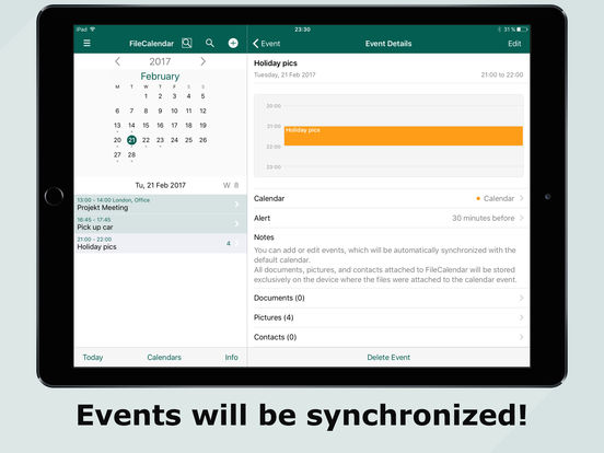 FileCalendar - Manage calendar events & add files Screenshots