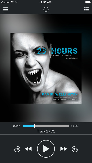 23 Hours (by David Wellington) (UNABRIDGED AUDIOBOOK) : Blackstone Audio Apps : Folium Edition iPhone Screenshot 1