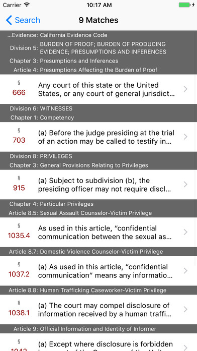 California Evidence Code (CA Law) iPhone Screenshot 5