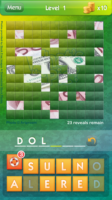 Screenshots of What's the Pic? ~ reveal the hidden object from the photo puzzle and guess what's the word for iPhone
