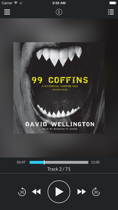 99 Coffins (by David Wellington) (UNABRIDGED AUDIOBOOK) : Blackstone Audio Apps : Folium Edition iPhone Screenshot 1