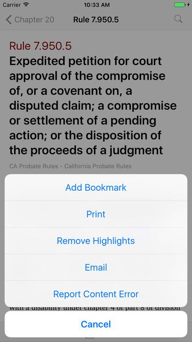 California Probate Rules (CA Rules of Court Title 7) iPhone Screenshot 3