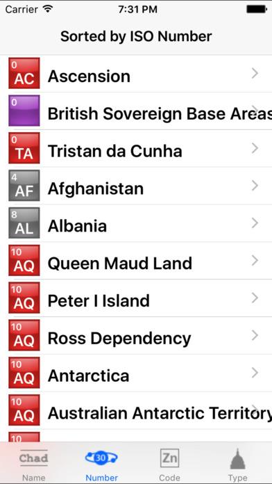 zCountries iPhone Screenshot 1