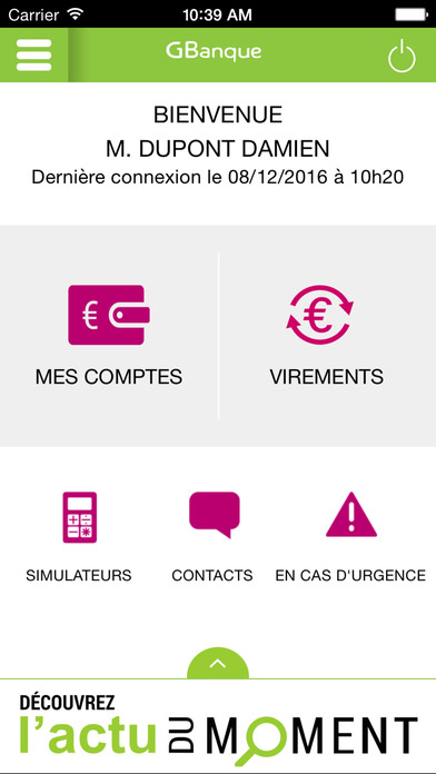 G Banque iPhone Screenshot 1