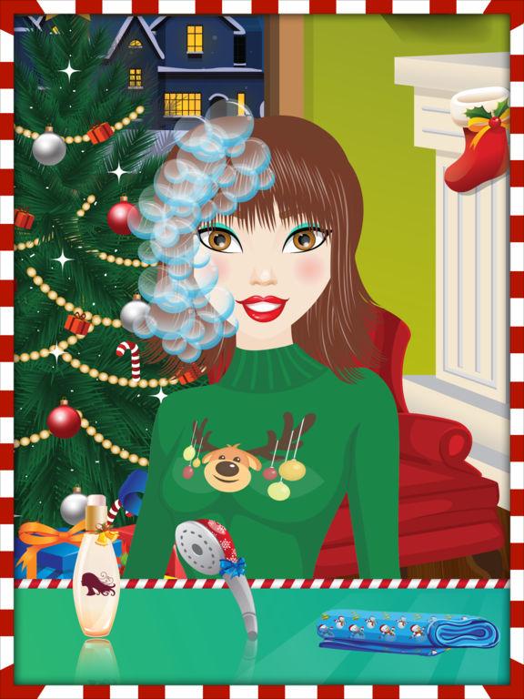 Christmas Girls Hair Makeover Salon - Free Gamesscreeshot 3