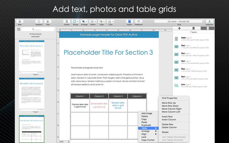 Orion PDF Author Screenshots