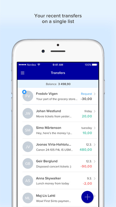 Siirto – instant money transfer between friends Apps free for iPhone/iPad screenshot