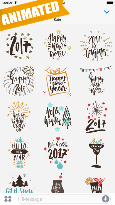 App Shopper: Animated Happy New Year Greetings for iMessage (Stickers)