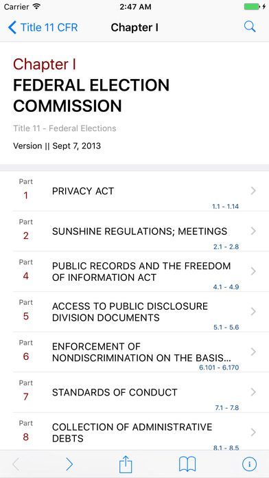 Title 11 Code of Federal Regulations - Federal Elections iPhone Screenshot 2