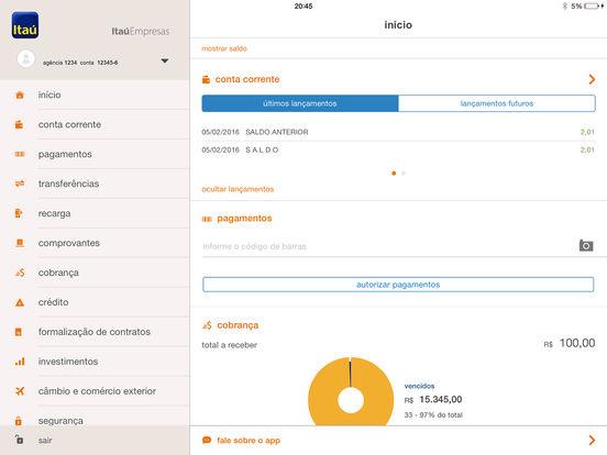 Itaú Empresa iPad Screenshot 1