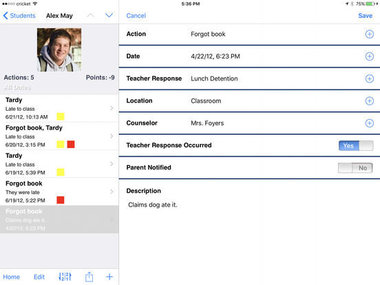 Teacher's Assistant Lite: Track and Report Student Actions, Achievements, and Behavior iPad Screenshot 3