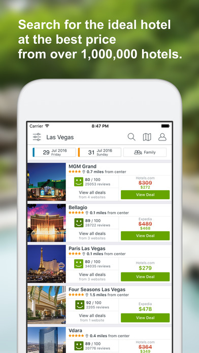 Trivago app hotel deals top travel booking sites on the for Best travel booking sites