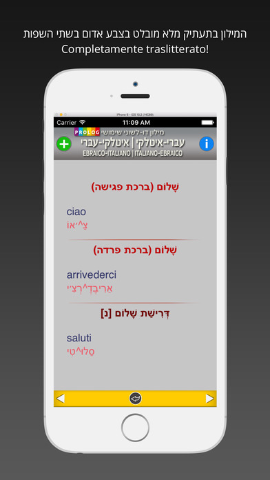 Hebrew-Italian Practical Bi-Lingual Dictionary iPhone Screenshot 3