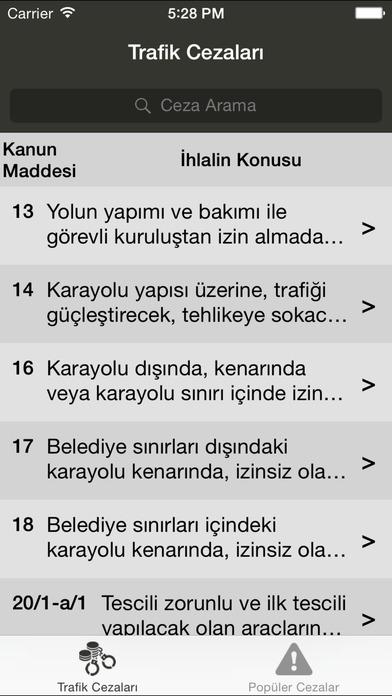Trafik Cezaları iPhone Screenshot 1