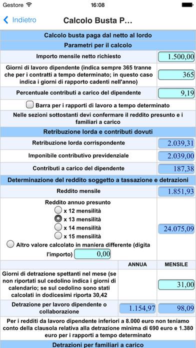 Controllo e Calcolo Busta Paga - Calcolo Costo del Lavoro iPhone Screenshot 4