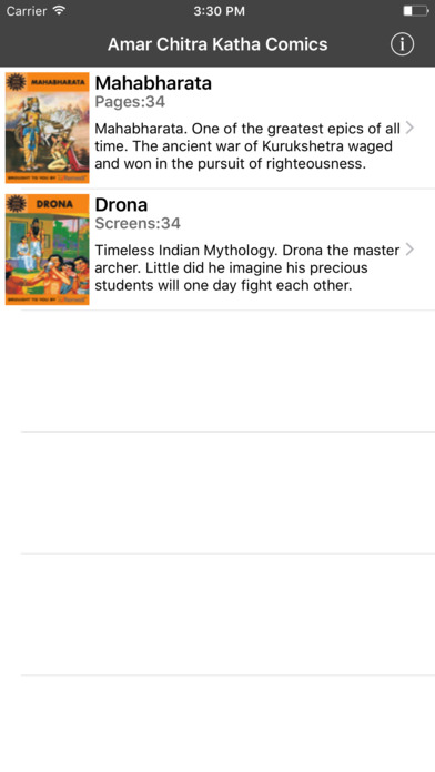Mahabharata And Drona Digest (One of the greatest epics of all time) - Amar Chitra Katha Comics iPhone Screenshot 1