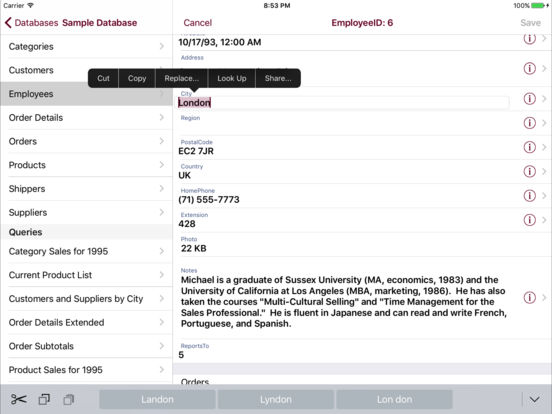 Oracle Mobile Database Client Screenshots