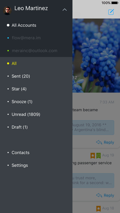 Flow - email app for Gmail, Hotmail & IMAP inbox Screenshots