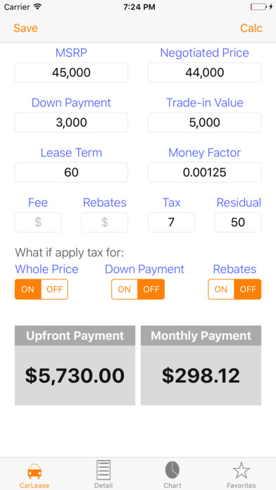 Car lease payment calculator app