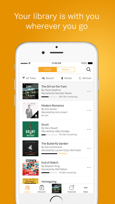 Screenshots of Audible for iPhone