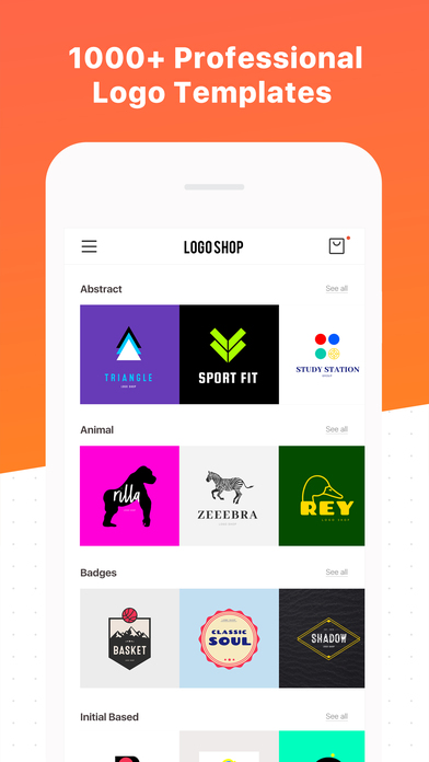Logo maker shop text graphic design creator on the app Blueprint creator app