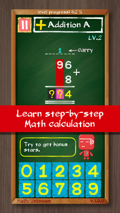 Math: Unknown 1.0.0 - A step-by-step math learning game for iOS Image