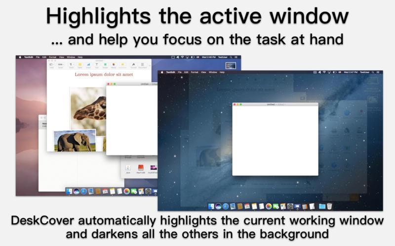DeskCover for Mac 1.2.4 破解版 – 凸显应用程序-爱情守望者