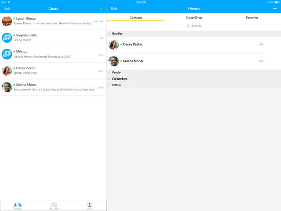 Screenshots of AIM: Chat, Free Text, Photo Share, Voice Message for iPad