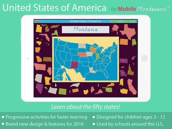 Montessori Approach To Geography HD - United States of America iPad Screenshot 1