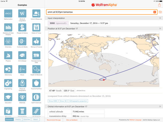 WolframAlpha iPad Screenshot 1