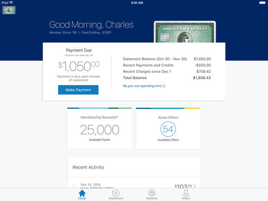 American Express iPad Screenshot 1