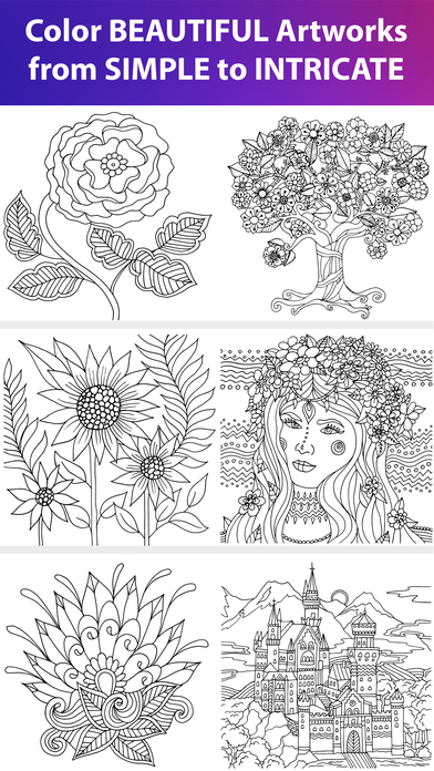 Color matters adult coloring book therapy app data Coloring book for adults app