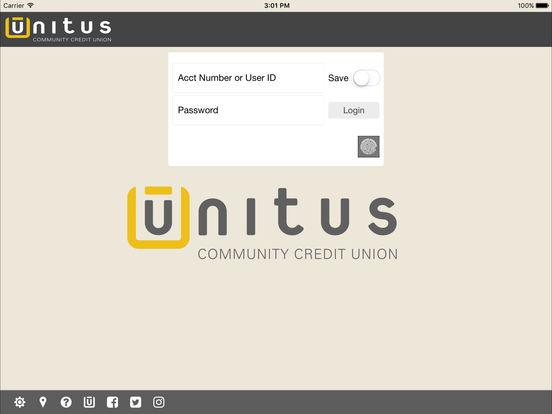 Unitus Community Credit Union Mobile iPad Screenshot 1