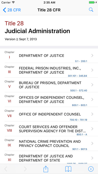 Title 28 Code of Federal Regulations - Judicial Administration iPhone Screenshot 1
