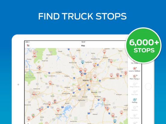 Trucker Path Maps Truck Stops Weigh Stations AppRecs - Map of truck stops in us