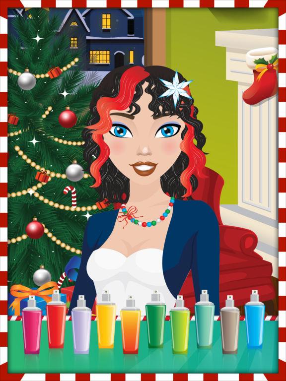 Christmas Girls Hair Makeover Salon - Free Gamesscreeshot 1