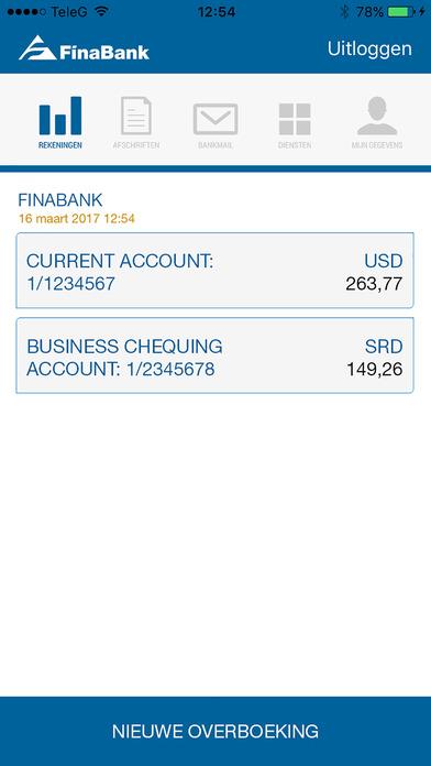 Finabank screenshot