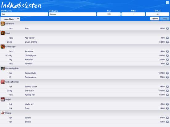 Indkøbslisten iPad Screenshot 1