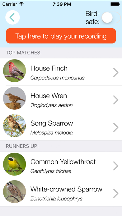 ChirpOMatic USA, Automatic Bird Song Recognition screenshot 2